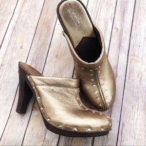 Michael Kors | Gold Leather Studded Mule Heels